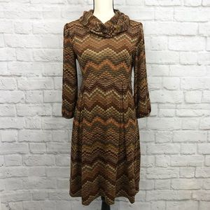 New Directions Cowl Neck Fall Zigzag Dress Size L
